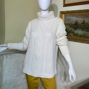 Edie Bauer Aran Cable Knit Turtle Neck Sweater